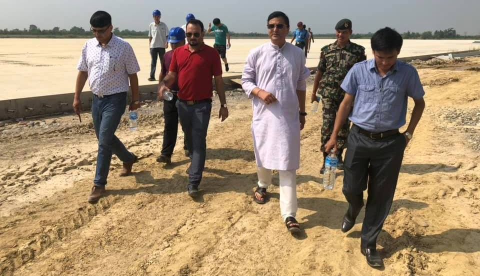 Bhattarai on onsite monitoring of Gautam Buddha Airport construction progress in Dashain
